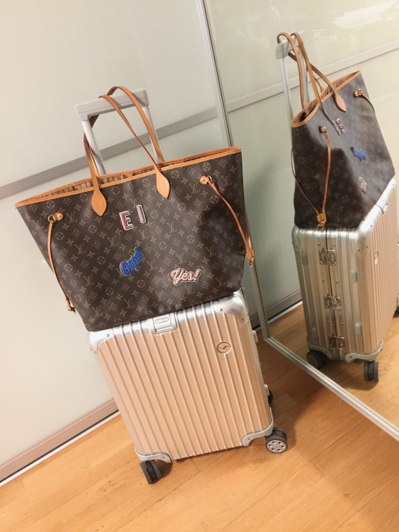 Rimowa Board trolley alu collection with Louis Vuitton Neverfull