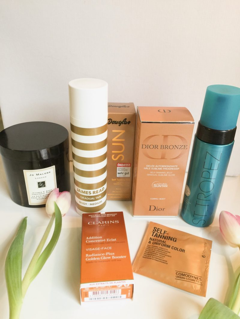 Self-tanning products: James, Read, Douglas, Dior, St. Tropez, Clarins