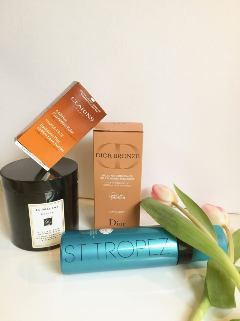 Products from: Jo Malone, Clarins, Dior, St. Tropez