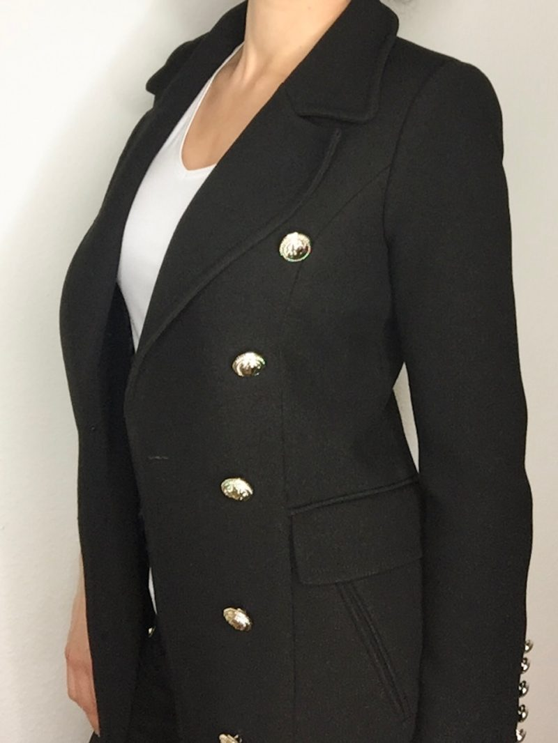 Black Balmain Coat with golden buttons