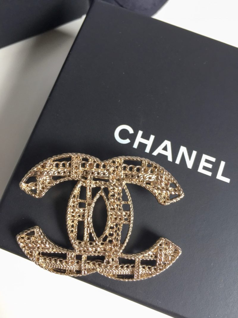 CC brooch light gold Chanel brooch collection