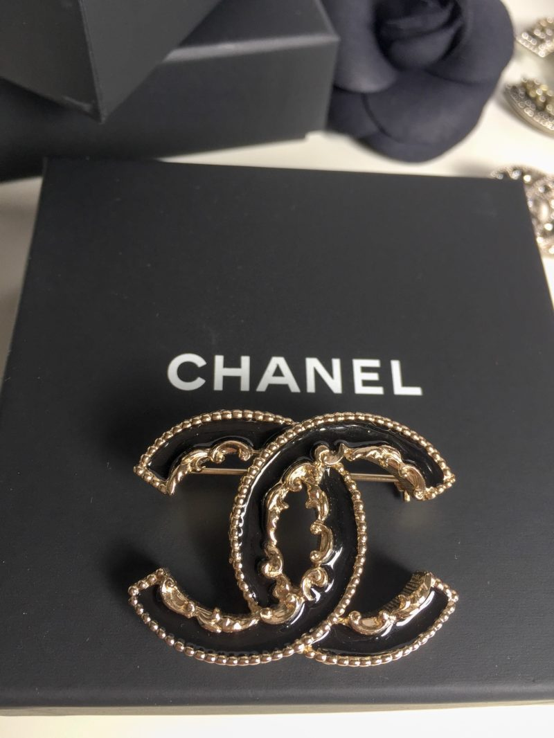 logo studded cc brooch chanel consignment products pyramid designer vault gold