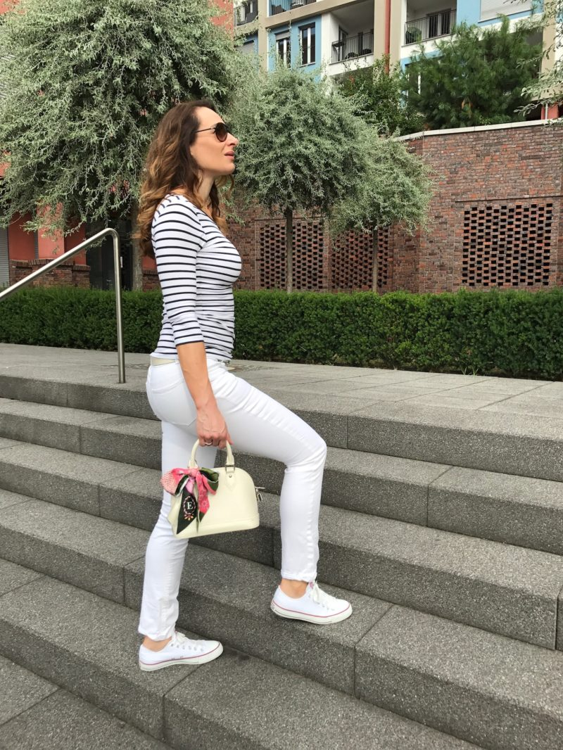 Outfit of the day: Striped shirt and white trouser