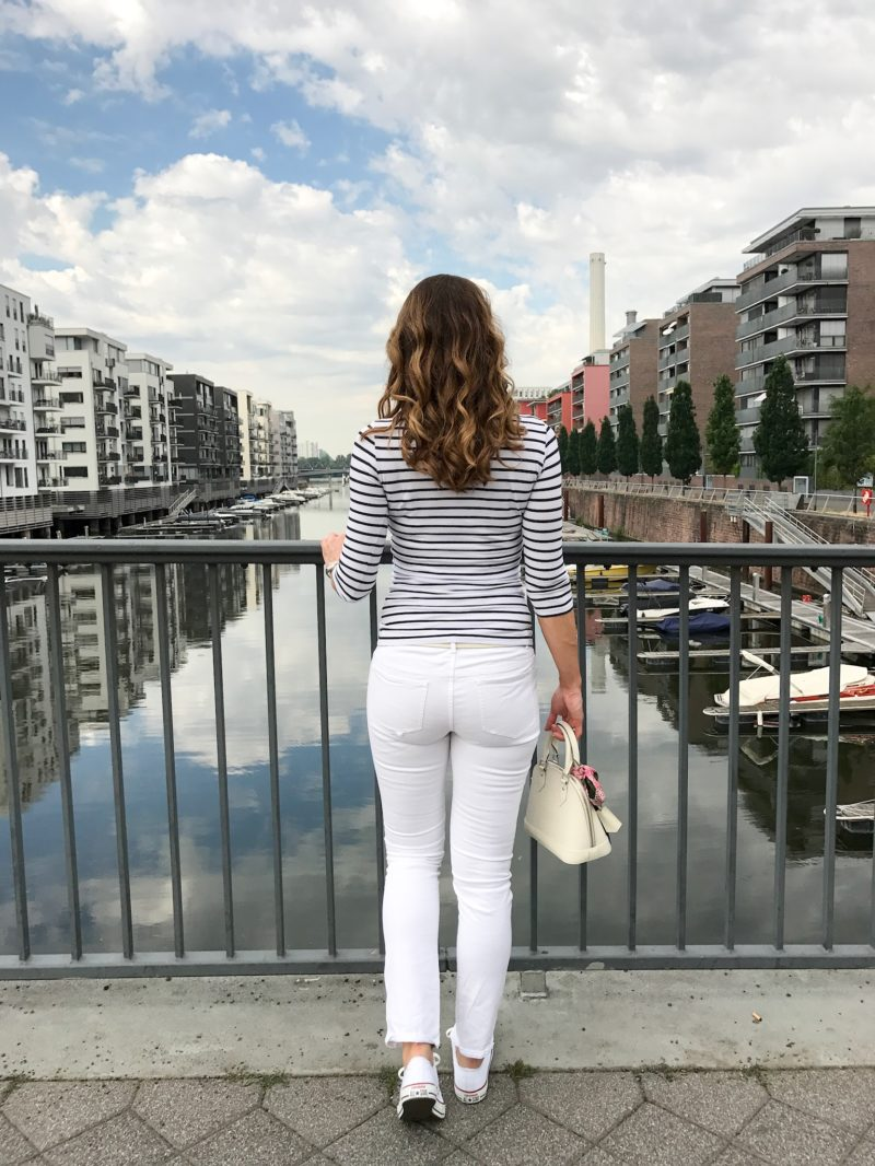 Striped shirt and white trouser