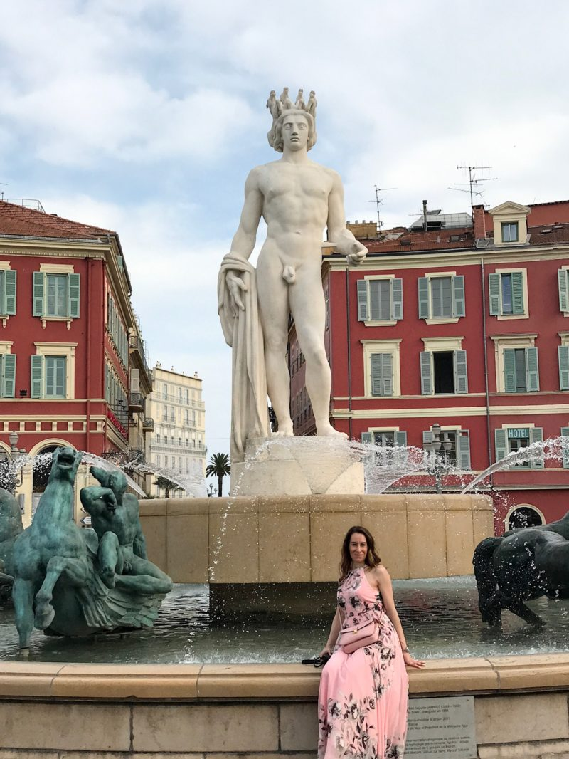 Sitting at the fountain at place massena in nice in my pink maxi dress