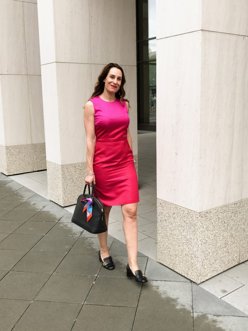 Red dress business attire styled