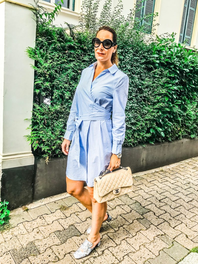 blue blouse dress with miu miu sunglasses