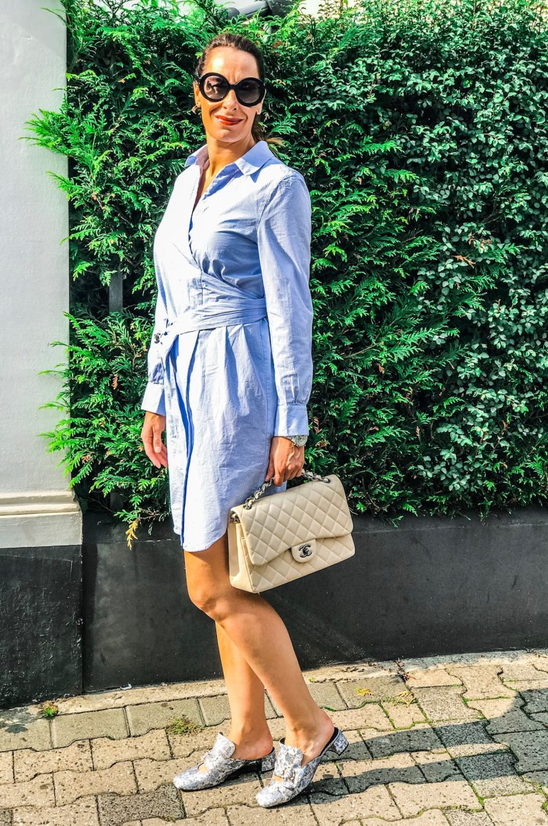 Blouse dress in blue with miu miu sunnies
