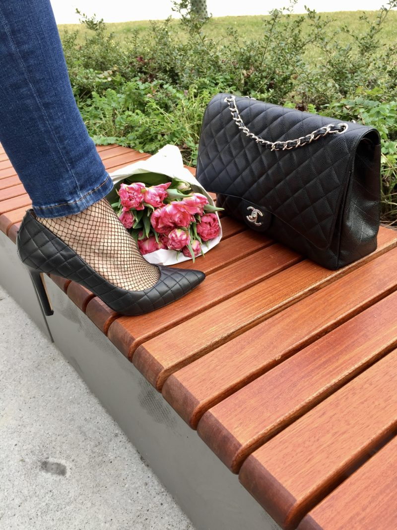 Fishnet Stockings with jeans and high heels
